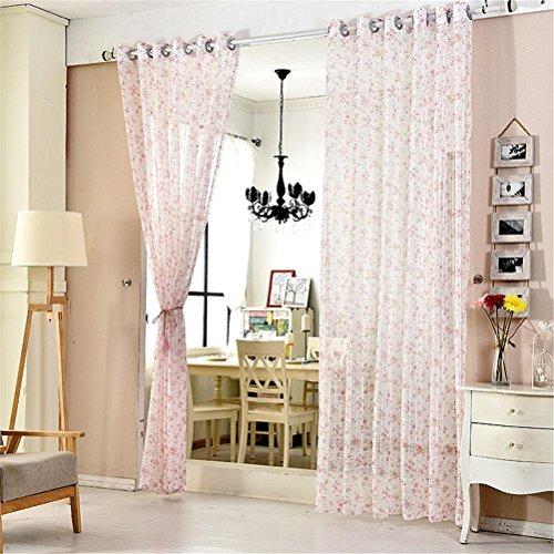 Orientalische Holz-bildschirm (CF® Tulle Vorhänge Stickerei Bildschirm Romantische Rosa Kirschblüte Schlafzimmer Fenster Voile Tüll Vorhänge Sheer Wohnzimmer 1 Stück , 3*2.7m)