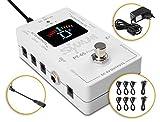 Shaman PT-65 PowerTuner Isolated Stimmgerät & Netzteil für Effektpedale (Chromatisches Stimmgerät und Netzteil in einem, bis 8 Geräte, 9 Volt, isolierte/spannungsstabilisierte 9V Gleichstrom) Weiß