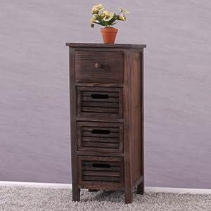 Serie vintage scaffale cassettiera legno paulonia 4 cassetti 25x30x74cm ~ marrone by Mendler