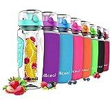 Willceal Bouteille d'eau avec infuseur à fruits 0,95 l Fabriquée en Tritan sans BPA, couvercle à...