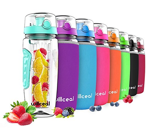 he mit Fruchteinsatz 945 ml - Hochwertig und beständig - Groß, BPA-frei, aus Tritan - Aufklappbarer Deckel mit Tragegriff - Auslaufsicheres Design ()
