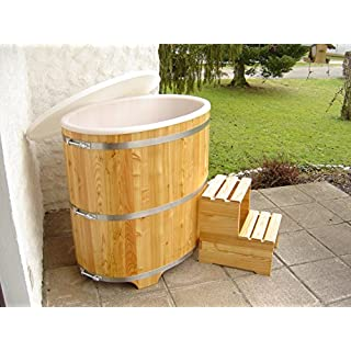 Achleitner Sauna Tauchbecken aus PEFC zertifizierten Lärchenholz mit Kunststoffeinsatz und Kunststoffdeckel