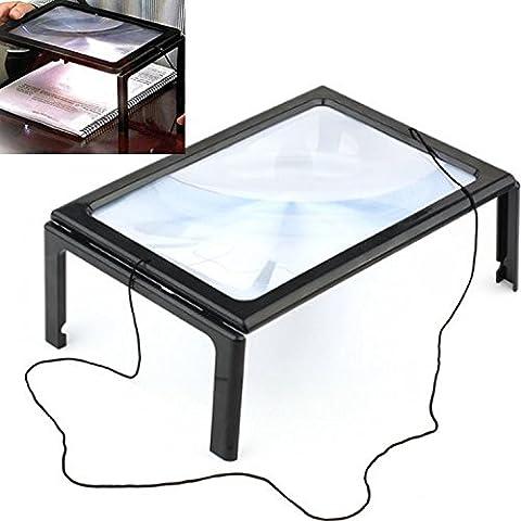 Manos libres tipo escritorio 3 X lupa 4 LED luz iluminado lupa grande vidrio lente completo página lectura con patas plegables y cordón de cuello para iPad periódico