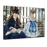 Bilderdepot24 Leinwandbild - Édouard Manet - Die Eisenbahn - 120x90cm XXL Einteilig - Alte Meister - Bilder als Leinwanddruck - Kunstdruck - Leinwandbilder - Bild auf Leinwand - Wandbild