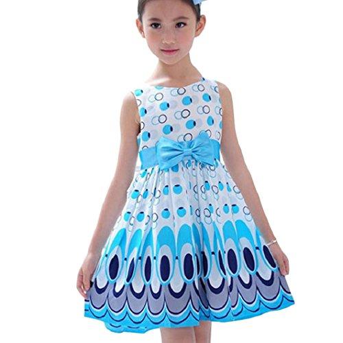 Kleid Mädchen (3-7 Jahre alt) Kolylong Mädchen Bogen Gurt ärmel Pfau Druck Partei Kleid (M/110( 4-5 Jahre ), Blau) (Kleid Bestickte Tank Baumwolle)
