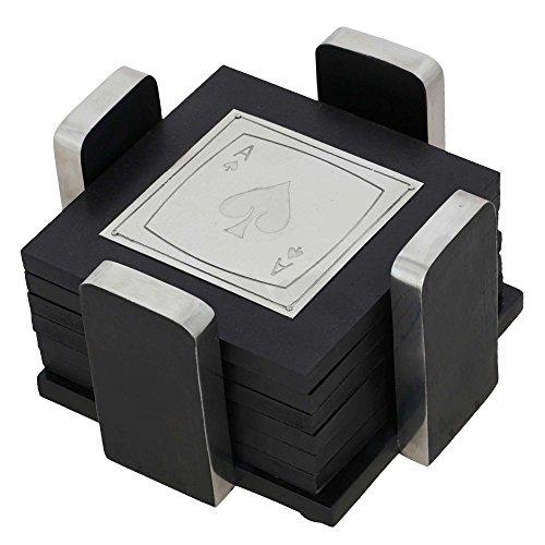 Handgemachte Spielkarte Holz Untersetzer Set Untersetzer Halter - 12,7 Cm - Enthält 6 Tisch Untersetzer - Einzigartige Housewarming Geschenke