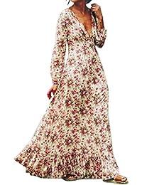 Winwintom mujeres retro Print floral V - cuello de manga larga vestido de fiesta vestido de