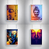 Religion/Festivals/Spiritual combo posters - set of 4 (12 inches * 18 inches) posters. Buddha painting rolled posters does not contain wall frames. Wall arts for your home/office/café/shops and gifts for yourself, friends, mom, dad, friend, girl friend, boy friend, acquaintace, boss, colleague