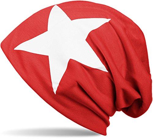 styleBREAKER chapeau de bonnet classique avec imprimé étoiles, Beanie, unisexe 04024038 rouge-blanc