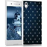 kwmobile Hülle für Sony Xperia XA1 - TPU Silikon Backcover Case Handy Schutzhülle - Cover klar Anker Muster Design Weiß Dunkelblau