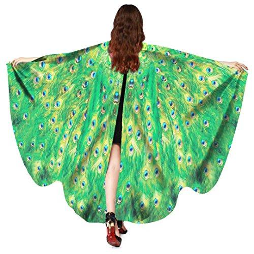 Hmeng Frauen Pfau Flügel Schal, Damen Schals Nymphe Pixie Poncho Multicolor Wrap Kostüm Zubehör für Party oder Show (168 * 135CM, Grün)
