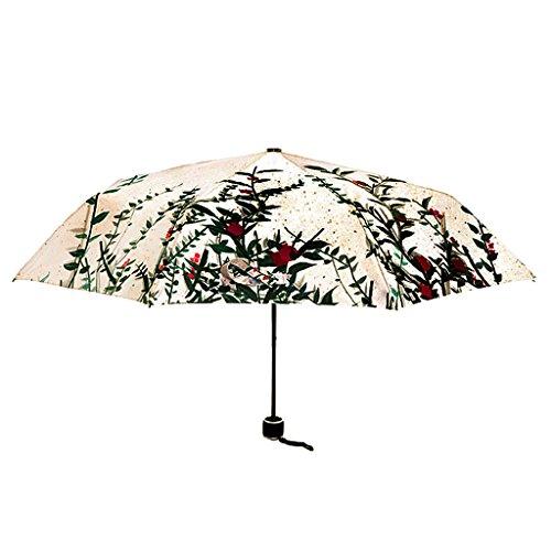 FakeFace Silber Coating Regenschirm Sonnenschirm 3 Faltbar Doppeldach 8 Rippen Manuell Öffnen UV-Schutz Schirm für Damen Herren Outdoor Camping Reise Alltag 108 CM -