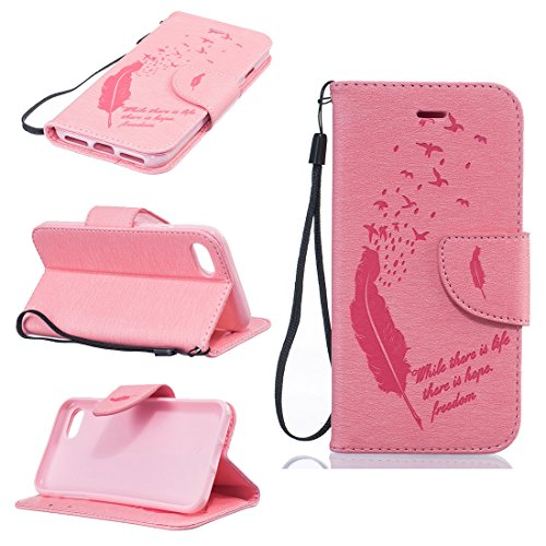 Battery Charging Pod (Chreey Apple Iphone 7 (4.7 Zoll),Hülle Cover Case Leder Muster Flip Etui ,Kreditkartenslot,Karte Halter-Magnetverschluß-Klappbar Stand,Perfekt zum Schutz Ihres Telefons (Pure color - feder - schlucken))