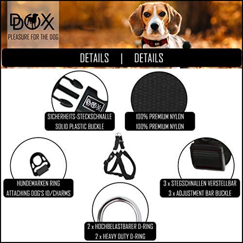 Hundegeschirr Step-In aus Premium-Nylon verschiedene Farben und Groessen XXS, XS, S, M, L, XL: Brustgeschirr, Laufgeschirr, Fuehrgeschirr, verstellbar, Zugentlastung, stabil, bequem, weich, farbig, fuer große und kleine Hund (Leine und Halsband separat erhaeltlich) (Farbe Schwarz, Größe XS – 1,0 x 32-44 cm) - 2