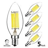 HzSane C35 E14 LED Candle Bulbs 6W, 60W Incandescent Bulbs Equivalent, 6000K Daylight White Candelabra E14 SES Bulbs, Non-dimmable, 600Lm, LED Filament Light Bulb, Small Edison Screw Candle Light Bulbs, 5-Pack