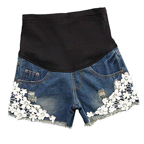 Pantalones Cortos De Los Pantalones Cortos De Maternidad De Las Mujeres Casuales con Los Pantalones Cortos De Los Pantalones Vaqueros del Vientre De La Previsión  Azul M