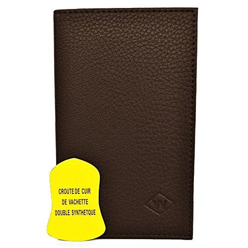 Charmoni - Porte-papiers De Voiture 3 Volets En Cuir De Vachette Neuf Hugo - chocolat