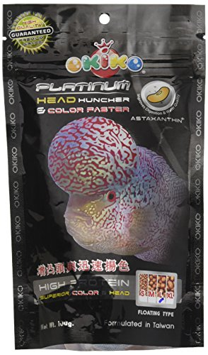 OKIKO Platinum Head Huncher & Color Faster 100g (Best Food for Flowerhorn Head and Color Development) ** COLOURFUL…