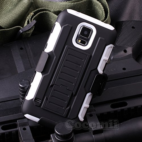 Galaxy S5 Mini Hülle, Cocomii Robot Armor NEW [Heavy Duty] Premium Belt Clip Holster Kickstand Shockproof Hard Bumper Shell [Military Defender] Full Body Dual Layer Rugged Cover Case Schutzhülle Samsung G800 (White) (Samsung S5 Otterbox-holster Case)