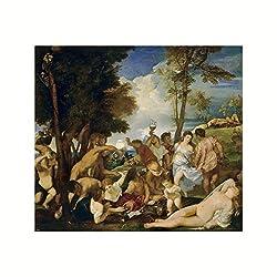 Titian n- Bacchanalia (the Andrians await the arrival of Dionysus) 1519 Print 60x60cm