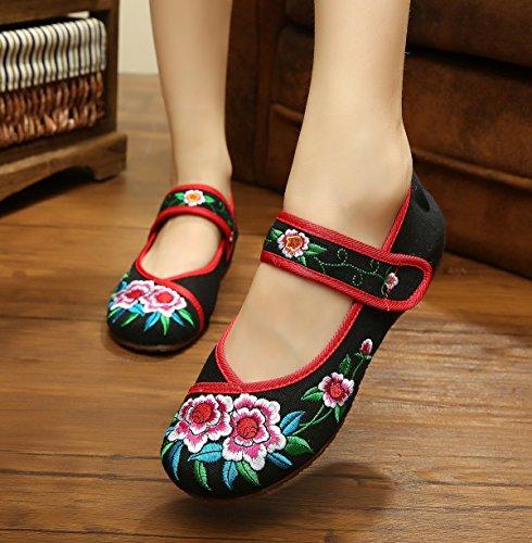 DESY Scarpe ricamate, suola a tendina, stile etnico, scarpe da donna, moda, comodo, casual all'interno dell'aumento black red edge