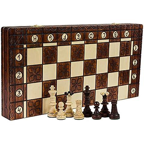 DELUXE - el SENADOR grande 41cm/16,1 en artesanal clásico ajedrez madera