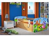 Kocot Kids Kinderbett Jugendbett 70x140 80x160 80x180 Buche mit Rausfallschutz Matratze Schublade und Lattenrost Kinderbetten für Mädchen und Junge Safari 160 cm