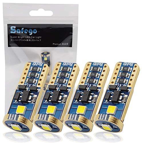 Safego 4x T10 W5W Wedge 194 168 192 158 3SMD 3030 Ampoules LED Pour Intérieur Inverse Sauvegarde Blanc 6000K DC 12V