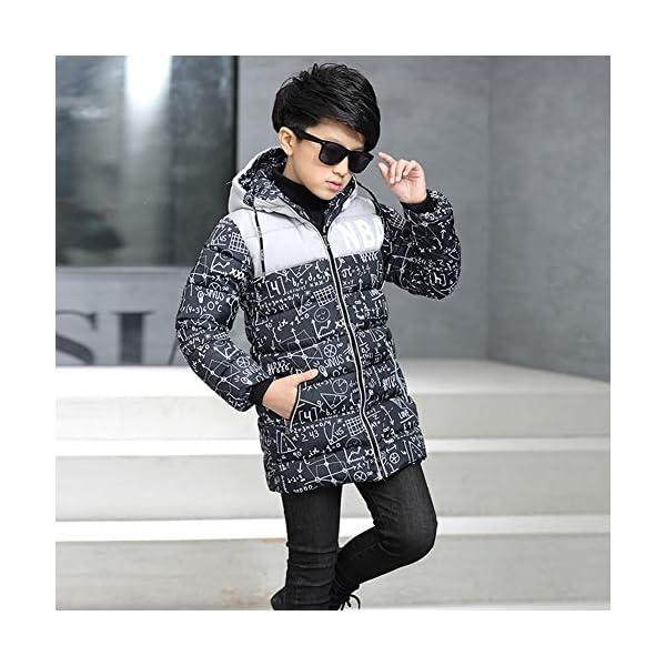 SXSHUN Niñas Abrigo Impermeable para Nieve Anorak Acolchado Padding Chaqueta de Algodón con Capucha Estampado 4