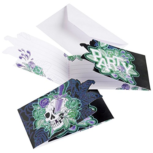 NET TOYS 6 cartons d'invitation Halloween 8,5 x 14 cm - invitations à une fête - cartes d'invitation à une fête - cartes d'Halloween