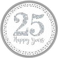 Brillante Plata 25th aniversario de platos llanos x 8