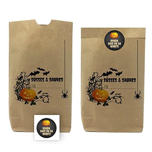 5 bedruckte Party-Tüten/Halloween für Süßigkeiten/Kürbis und Spinnen/mit passenden Etiketten/Papiertüten aus Kraftpapier für Geschenke, Mitgebsel, Süßigkeiten und Spielzeug/Halloween Party