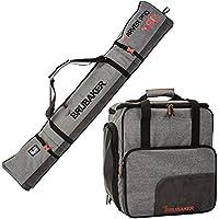 BRUBAKER Conjunto 'Super Performance' Bolsa para botas y Casco de ski junto a 'Carver Performance' Bolsa para un par de Ski - Heather gris / Negro - 190 cms.