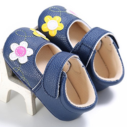 Bebê Com Com E Meninas Anti Sapatas De S Para Decoração Macias Primeiro Escuro derrapante Sapatos Bonitas Couro 0 18 E bebê Flores Azul menina Exclusivo Passeio branco De mês Uwqq8aE