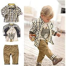 Sopo infantil niños Casual 3 piezas (camiseta + camisa + pantalones Caqui) ...