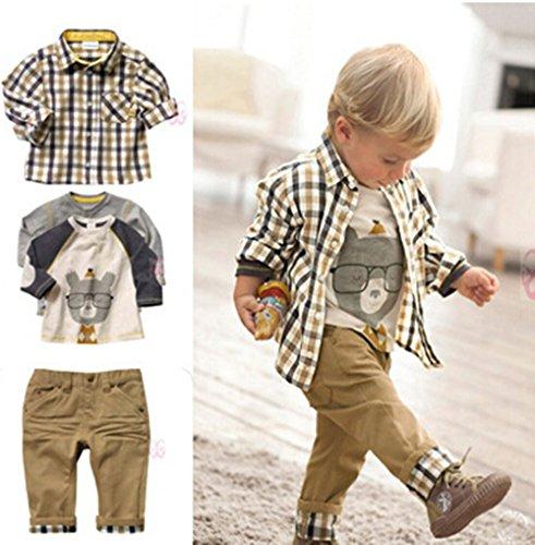 Sopo-Toddler-Bambini-Casual-3-pezzi-plaid-maglietta-camicia-pantaloni-cachi-1–5-y-Brown-1-2-anni