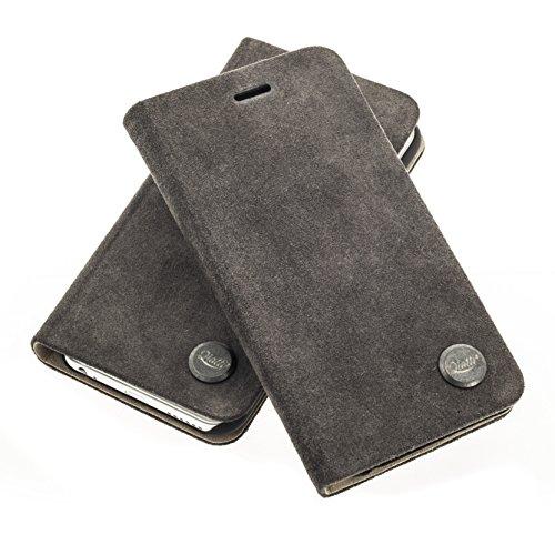 QIOTTI >          SAMSUNG GALAXY S6          < incl. PANZERGLAS H9 HD+ Stylisch Booklet Wallet Case Hülle Tasche aus echtem Kalbsleder mit Notenfach in BRAUN ALCANTARA GRAU