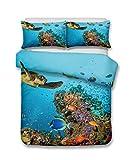 Bettwäsche-Set #2, Korallenriffe und Schildkröten im Tiefsee, 3D-Druck, lebensecht, 100% Polyester, Korallenrot, Einzelbett