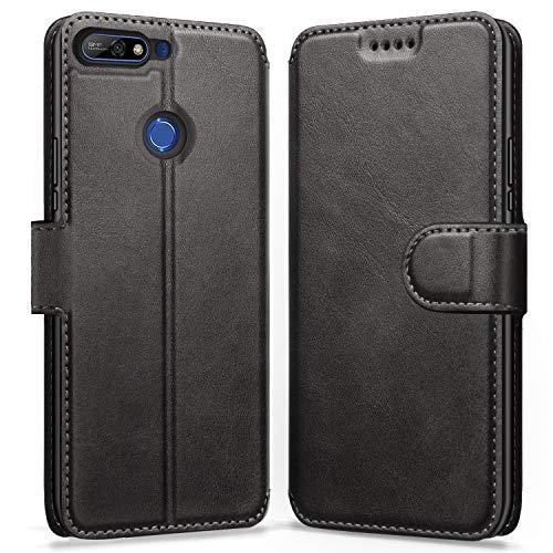 ykooe Huawei Y7 2018 Hülle, Flip Wallet Handy Tasche Leder Handyhülle für Huawei Y7 (2018)/Huawei Y7 Prime 2018/Honor 7C – Schwarz