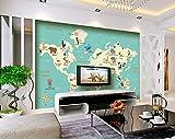 Yosot Papel pintado 3d Infantil Personalizada Mapa Del Mundo Animal Murales Para Niños Sala De Estar Dormitorio Sala De Fondo-350Cmx245Cm