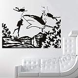 zhuziji Pegatinas de Artes de Pared Paisaje subacuático Personalizado con Tres Buzos y Tiburones Vinilo Impermeable Barbería autoadhesiva, Salón de Belleza Mural44X62Cm
