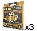 Lot de 3 SIX BUDDY HQ-1152A Jeu de 6 cordes pour guitare Acoustique 11-52