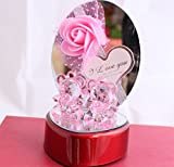 #3: Lilone Stunning Crystal Pink Teddy Bears and Rose Attractive Showpiece Gift for Couple and Valentine Gift
