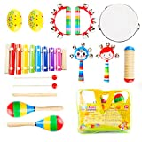 FEIRAN 14PCS Musikinstrumente Set Holz Schlagzeug Schlagwerk Glockenspiel-Set Musik Percussion Rhythmus Instrumenten für Baby Kinder