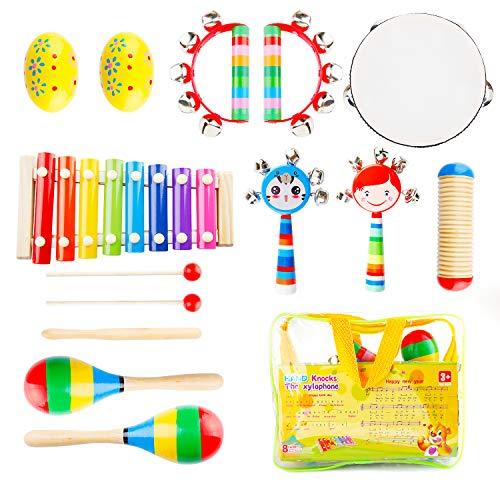 strumente Set Holz Schlagzeug Schlagwerk Glockenspiel-Set Musik Percussion Rhythmus Instrumenten für Baby Kinder ()