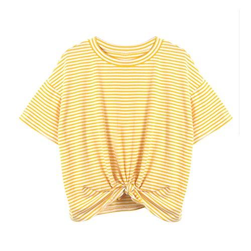 Lonshell_Damen Tops Damen Gestreiftes Bauchfrei T-Shirt, Sommer Kurzarm Crop Tops Teenager Mädchen Sport Oberteile Bluse Lace up Hemd Pullover (Gelb, L)