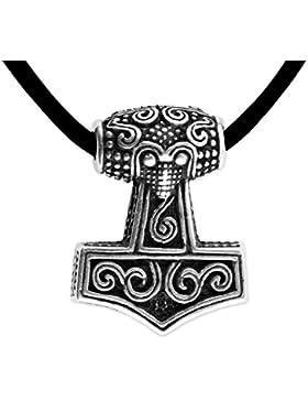 Anhänger kleiner Thors Hammer 925er Silber Keltischer Schmuck Amulett - Schutz - mit Lederhalsband Schmucksäckchen...