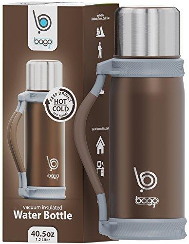 Bago Vacuum Insulated Water Bottle (Brown,40.5oz) - Becher Camper Happy
