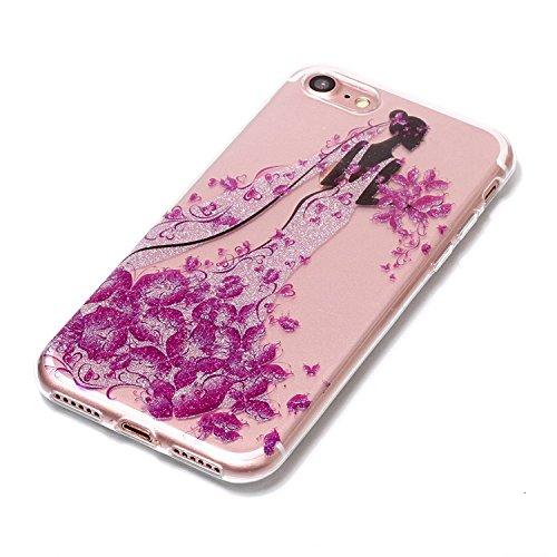 Linvei TPU Coque - pour Apple iPhone 7(4.7inch) Silicone Étui Housse Protecteur - Coloré Motif Design - Fleurs d'ananas Le port de Robe de Mariée Fille