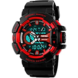 SKMEI Analog-Digital Black Dial Men's Watch-AD1117 (BLK-RED)